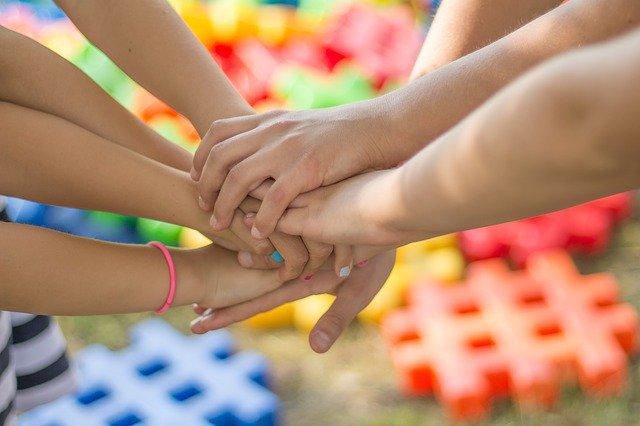 children friendship hands